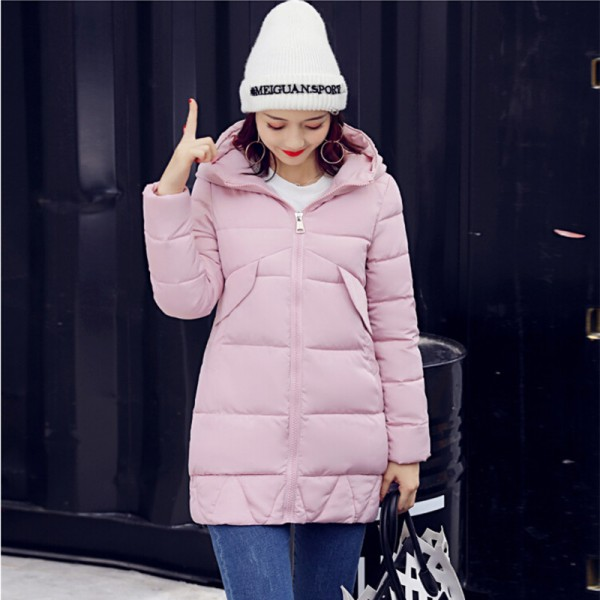 New Winter Coat Slim Cotton Padded Clothing Women Medium Parka Autumn Winter Jacket Casual Hooded Female Outwear Extra Image 5