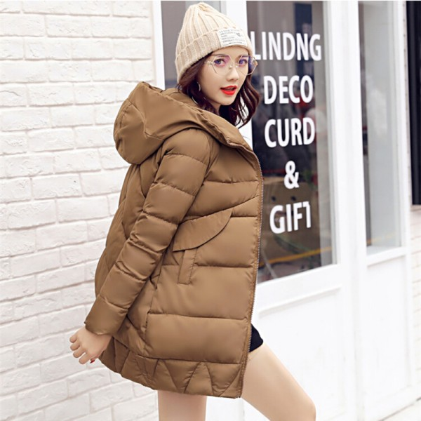 New Winter Coat Slim Cotton Padded Clothing Women Medium Parka Autumn Winter Jacket Casual Hooded Female Outwear Extra Image 6