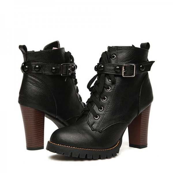 New Winter High Heel Martin Boots Gothic Punk Motorcycle Buckle For Women Thumbnail
