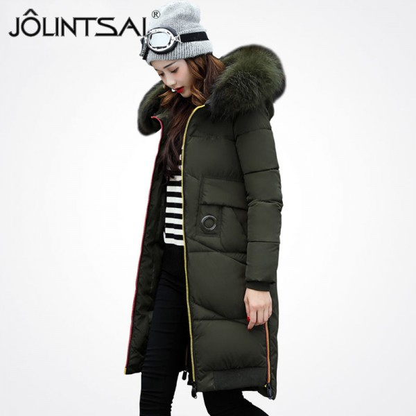 New Winter Jacket Women Parkas Colorful Zipper Alphabet Fashion Large Fur Collar Female Winter Women Coat Extra Image 4