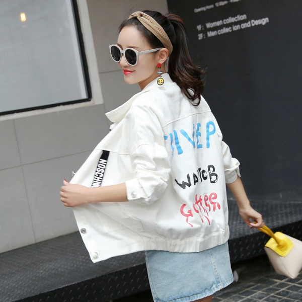 New Women Brand Fashion Spring Autumn Denim Jacket Women Long Sleeve Casual Loose Black White Short Jeans Jacket Coats Extra Image 2