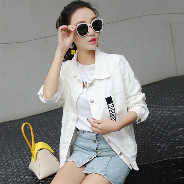 New Women Brand Fashion Spring Autumn Denim Jacket Women Long Sleeve Casual Loose Black White Short Jeans Jacket Coats Extra Image 4