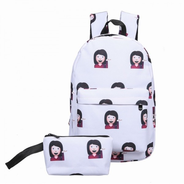 New Women Canvas Backpacks Smiley Design Emoji Face Printed School Bags For Teenage Girls Shoulder Bags Extra Image 3
