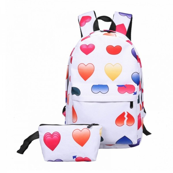 New Women Canvas Backpacks Smiley Design Emoji Face Printed School Bags For Teenage Girls Shoulder Bags Extra Image 4