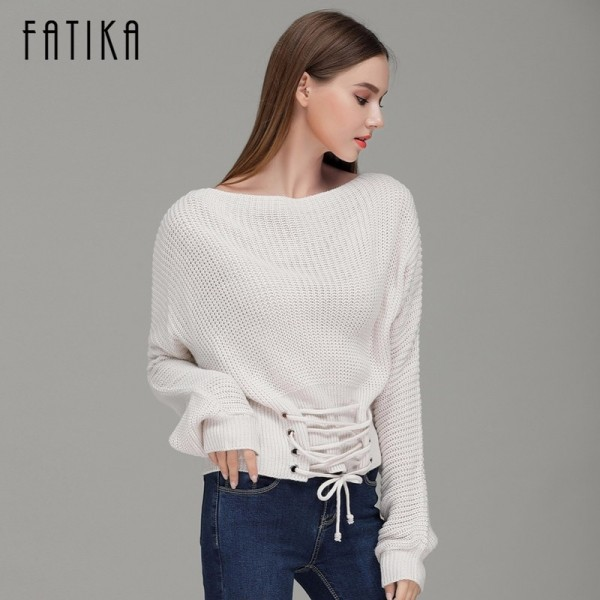 New Women Fashion Loose Knitted Pullover Sleeve Lace up Long Sleeves Off Shoulder Sexy Sweater Tops For Woman Extra Image 3
