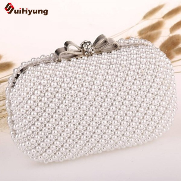 New Women Hand Beaded Clutches Exquisite Pearl Diamond Bow Buckle Evening Bag Wedding Dinner Clutches Thumbnail