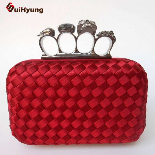 New Women Hand Woven Clutch Fashion Diamond Skull Evening Wedding Clutch Hard Case Wallet Handbags For Women Thumbnail