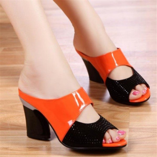 New Women High Heel Pumps Genuine Leather Rhinestone Thick Heel Color Block Decoration Open Toe Women Pumps