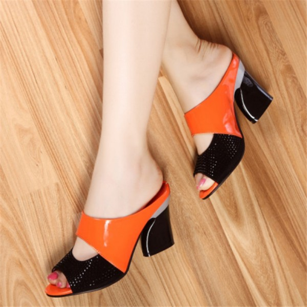 New Women High Heel Pumps Genuine Leather Rhinestone Thick Heel Color Block Decoration Open Toe Women Pumps Extra Image 4
