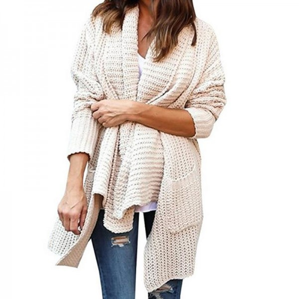 New Women Long Sleeve Knitted Cardigan With Pockets Loose Sweater Outwear Long Oversized Jacket Coat Female
