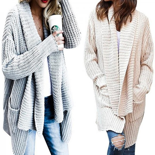 New Women Long Sleeve Knitted Cardigan With Pockets Loose Sweater Outwear Long Oversized Jacket Coat Female Extra Image 3