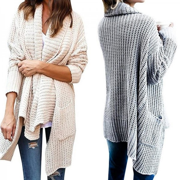 New Women Long Sleeve Knitted Cardigan With Pockets Loose Sweater Outwear Long Oversized Jacket Coat Female Extra Image 4