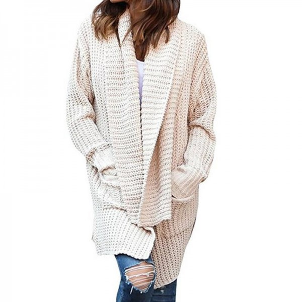 New Women Long Sleeve Knitted Cardigan With Pockets Loose Sweater Outwear Long Oversized Jacket Coat Female Extra Image 5