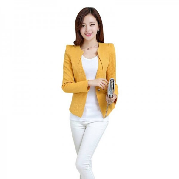 New Women Slim Blazer Coat Fashion Casual Jacket Long Sleeve One Button Blazers Women Thumbnail