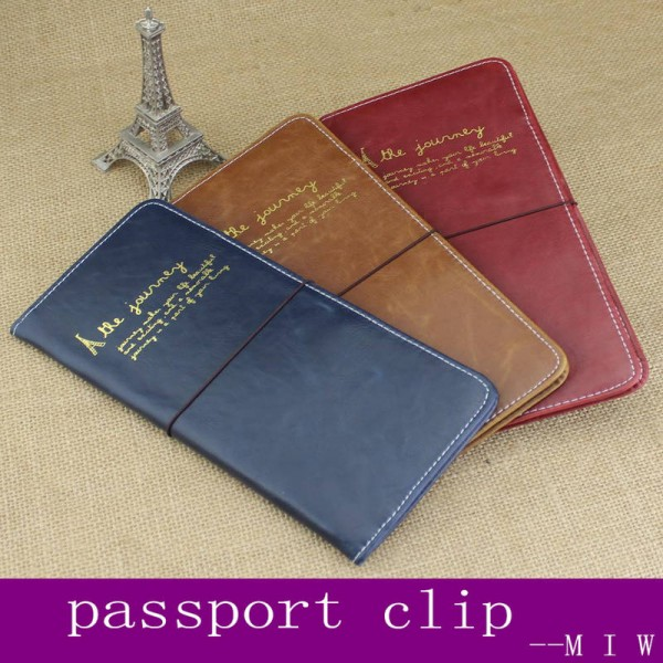 New Women Solid Color Pu Leather Travel Passport Driving License Cover Business Card Holder Thumbnail
