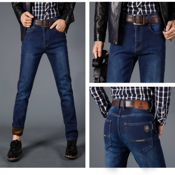 Nianjeep Thick Stretch Denim Warm Fleece Pants Trousers Jeans For Men Thumbnail