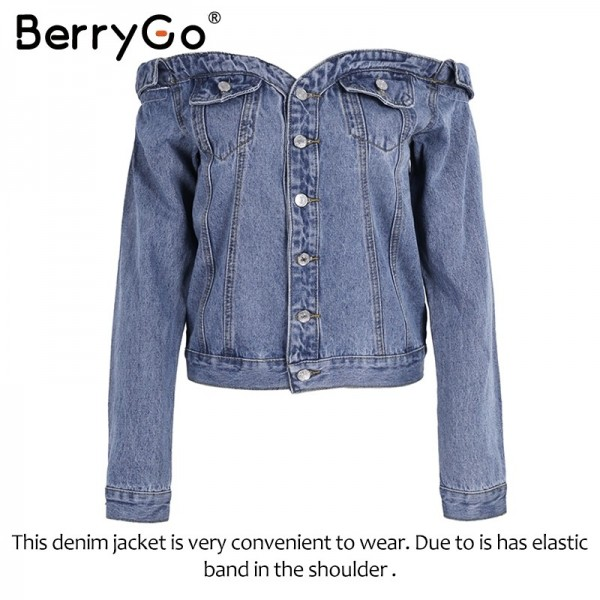 Off shoulder denim jacket coat Women sexy autumn slash neck jeans outerwear coat Female casual winter basic jackets Extra Image 6