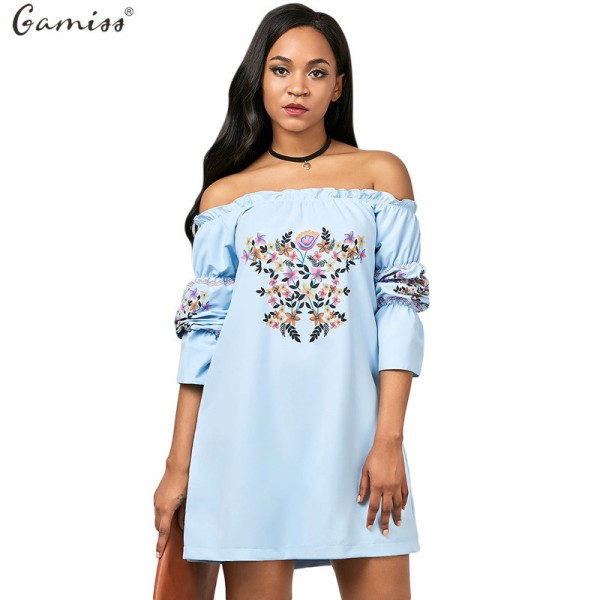 Off Shoulder Floral Printed Autumn Dress For Women Gamiss Three Quarter Vestido Female Mini Dress A Line Extra Image 1