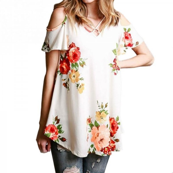 Off Shoulder Floral Printed Women Blouse Shirts 2018 Summer Loose Short Sleeve V Neck Blouses Elegant Female Blusas Extra Image 2