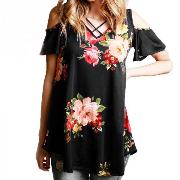 Off Shoulder Floral Printed Women Blouse Shirts 2018 Summer Loose Short Sleeve V Neck Blouses Elegant Female Blusas Extra Image 3