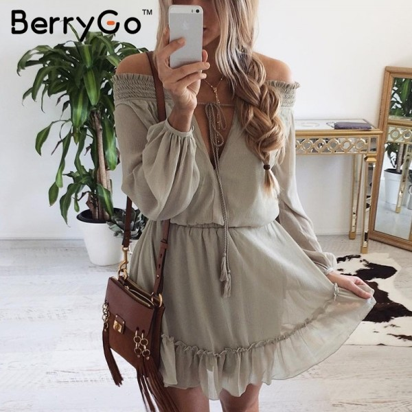 Off shoulder long sleeve beach summer dress Short chiffon vintage dress women Ruffle sexy dress vestido de festa Extra Image 2