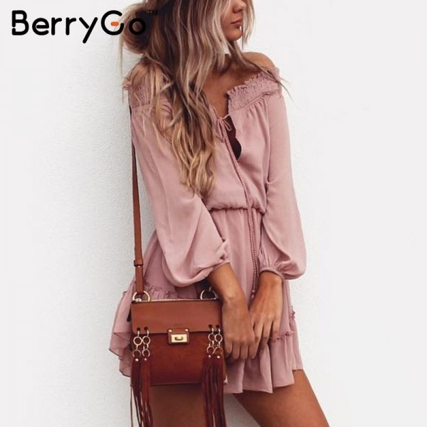 Off shoulder long sleeve beach summer dress Short chiffon vintage dress women Ruffle sexy dress vestido de festa Extra Image 4