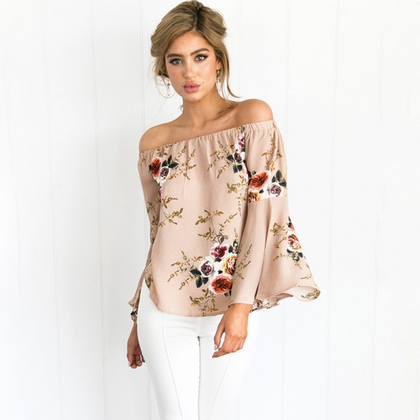 Off Shoulder Print Flower Floral Blouse Shirt Sexy Fashion Loose Women Beach Blouses Long Flare Sleeve Ladies Shirts Extra Image 1