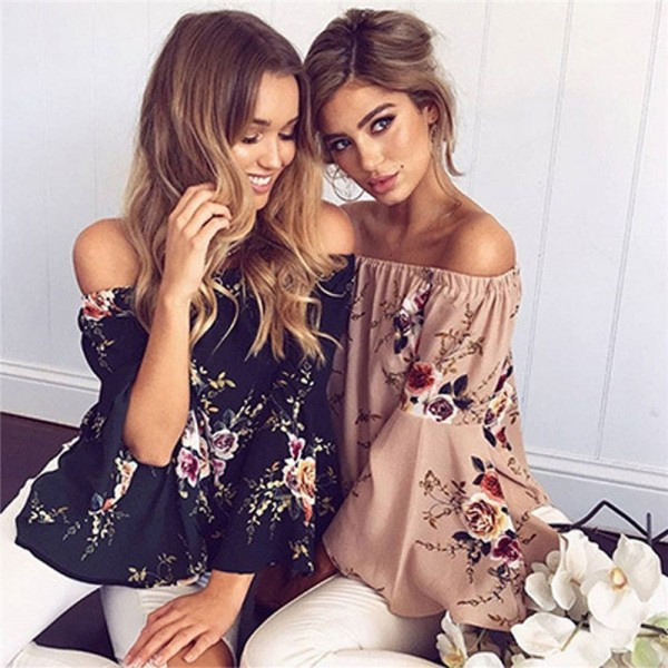 Off Shoulder Print Flower Floral Blouse Shirt Sexy Fashion Loose Women Beach Blouses Long Flare Sleeve Ladies Shirts Extra Image 3