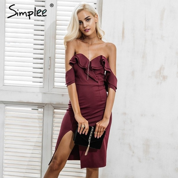 Off shoulder ruffle sexy bodycon dress women Split high waist elegant wine red party dresses Autumn winter dress robe Extra Image 2