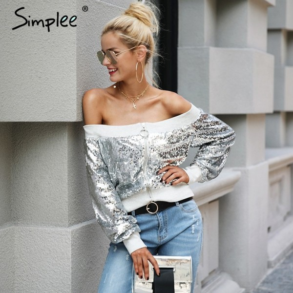 Off shoulder sequin jacket coat female Casual streetwear zipper future outerwear Elastic gray winter coat women Extra Image 2