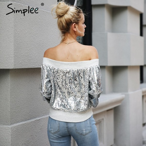 Off shoulder sequin jacket coat female Casual streetwear zipper future outerwear Elastic gray winter coat women Extra Image 3