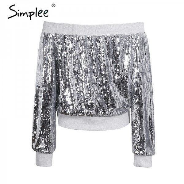 Off shoulder sequin jacket coat female Casual streetwear zipper future outerwear Elastic gray winter coat women Extra Image 5