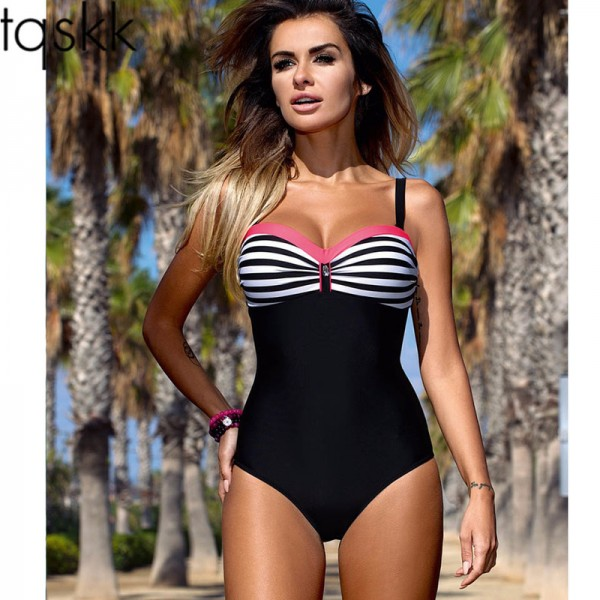 One Piece Swimsuit 2018 Swimwear Women Retro Striped Female Swimsuit Sexy Summer Dot Beach Wear Bathing Suit Monokini Extra Image 1