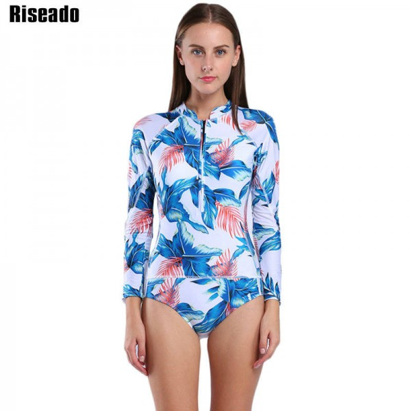 29c3172c25d One Piece Swimsuit Long Sleeve Swimwear For Women Bathing Suit Floral Print  Retro Surfing Swimsuit For ...