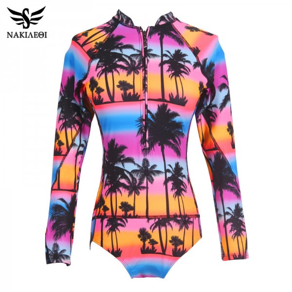 One Piece Swimsuit Long Sleeve Swimwear Women Bathing Suit Swimsuit Print Floral One Piece Swim Suits Surfing Wear Extra Image 4
