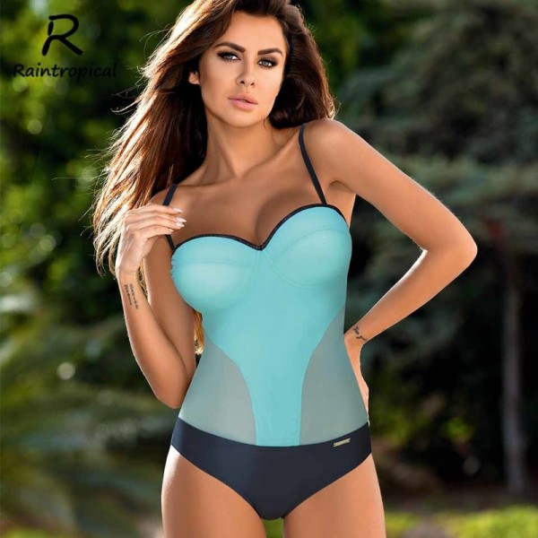 One Piece Swimsuit Sexy Women Push Up Swimwear Solid Bodysuit Bandage Cut Out Beach Bathing Suit Monokini Extra Image 3