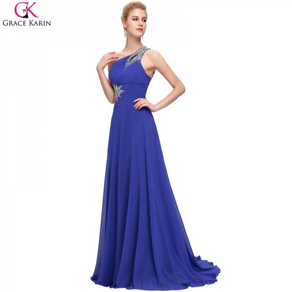 Buy One Shoulder Bridesmaid Dresses Beaded Sequin Chiffon Long ...