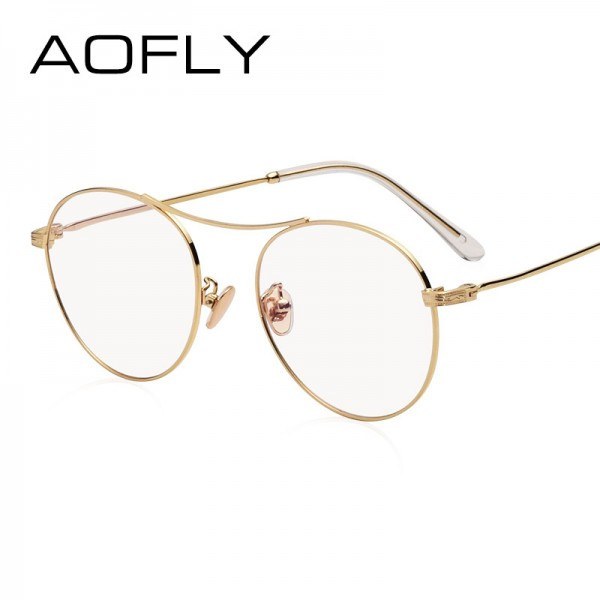 Oval Glasses High Quality Vintage Brand Designer Clear Lens Classic Unisex Optical Metal Frame Plain Eyeglasses Extra Image 2