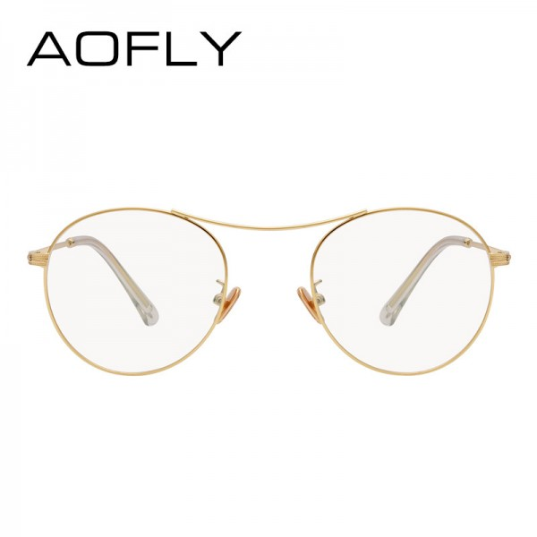 Oval Glasses High Quality Vintage Brand Designer Clear Lens Classic Unisex Optical Metal Frame Plain Eyeglasses Extra Image 3