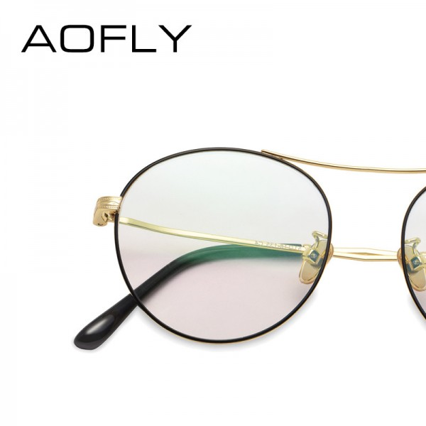 Oval Glasses High Quality Vintage Brand Designer Clear Lens Classic Unisex Optical Metal Frame Plain Eyeglasses Extra Image 4