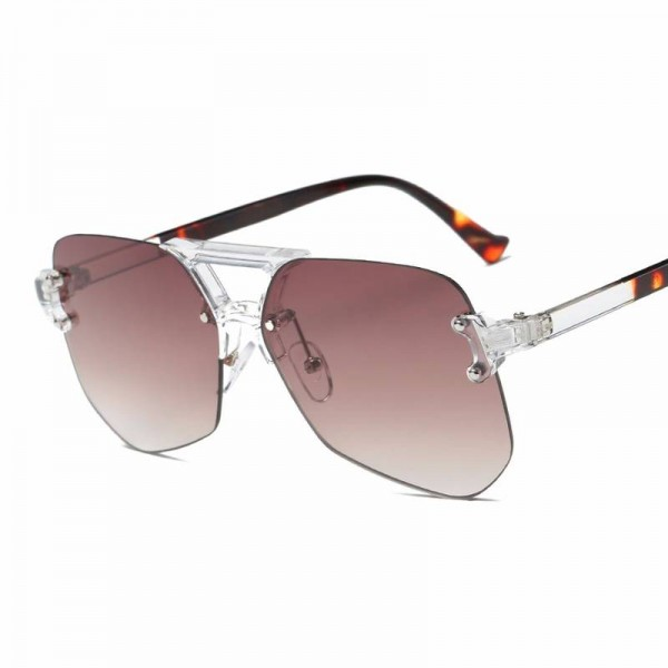 Oversized Rimless Sunglasses For Female Unisex Mirror UV400 Polarized Lens Retro Big Alloy Frame Shes Extra Image 2