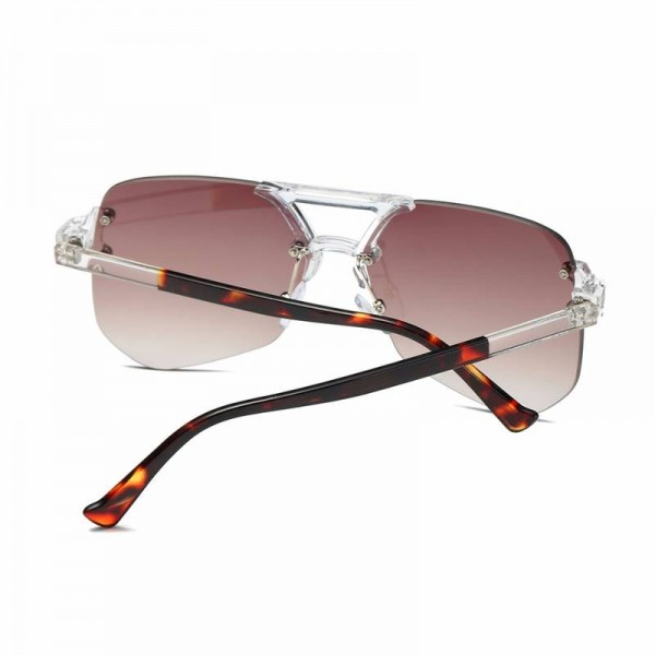 Oversized Rimless Sunglasses For Female Unisex Mirror UV400 Polarized Lens Retro Big Alloy Frame Shes Extra Image 5