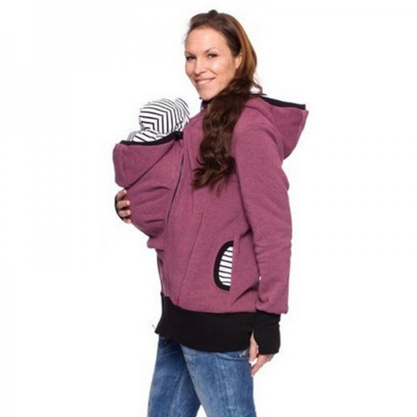 Parenting Child Autumn And Winter Women Sweatshirts Baby Carrier Wearing Three Features Mother Kangaroo Hoodie Extra Image 3