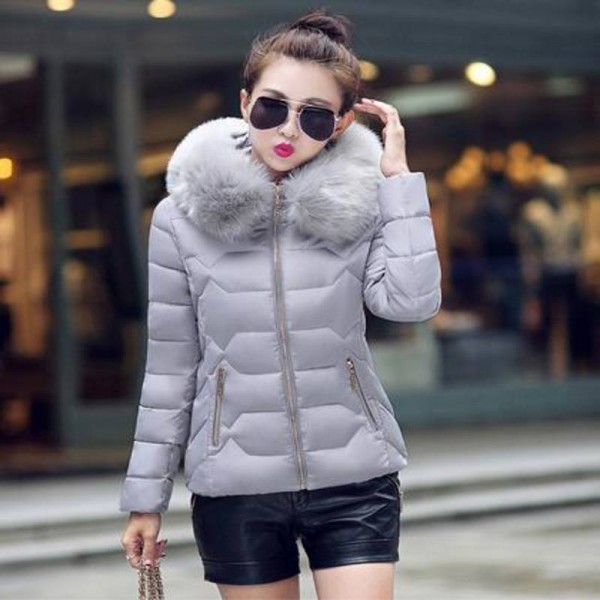 Parkas Thin Warm Faux Fur Collar Hooded Jackets For Women Thumbnail