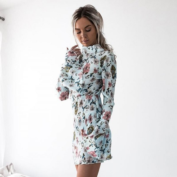Party Ware Women Dresses Autumn Floral Printed Long Sleeve Sexy Slim Backless Girls Dress Party Dresses For Ladies Extra Image 2