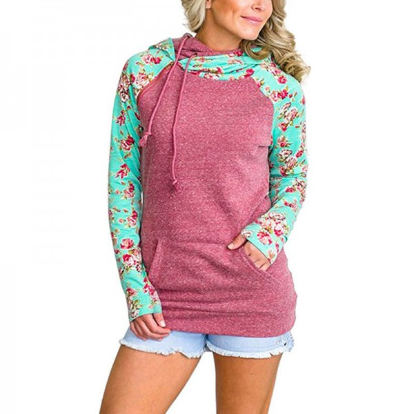 Patchwork Print Flower Long Sleeve Hoodie Sweatshirt with Pocket Autumn Winter Hoodies Women Casual Female Pullover Extra Image 1