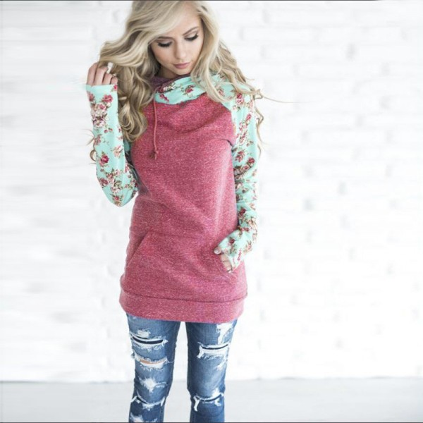 Patchwork Print Flower Long Sleeve Hoodie Sweatshirt with Pocket Autumn Winter Hoodies Women Casual Female Pullover Extra Image 3