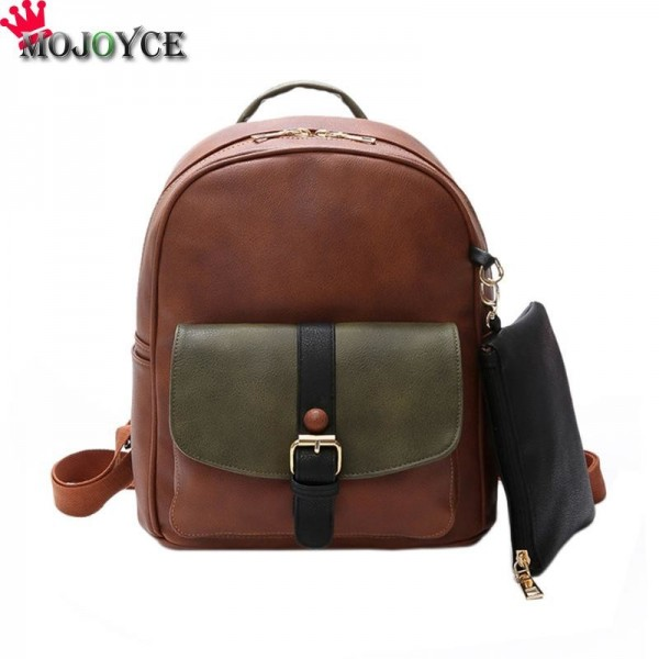 Patchwork Rivet Women Backpack Preppy Style Pu Leather Teenager Backpack Luxury Mochila Rucksack Bag For Women