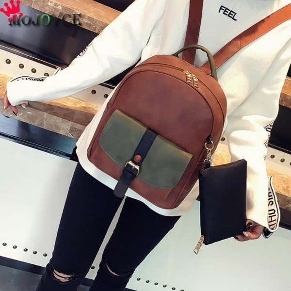 Patchwork Rivet Women Backpack Preppy Style Pu Leather Teenager Backpack Luxury Mochila Rucksack Bag For Women Extra Image 6