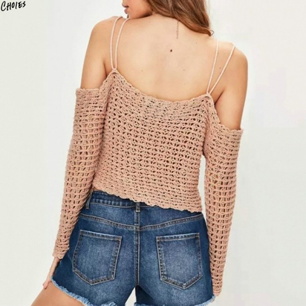 Pink Cold Shoulder Crochet Knitted Cropped Sweater Women Spaghetti Strap Long Sleeve Sheer High Street Jumper Pullover Extra Image 2